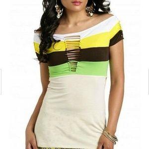 Rocawear  Multicolor Slashed Jersey Top 2X